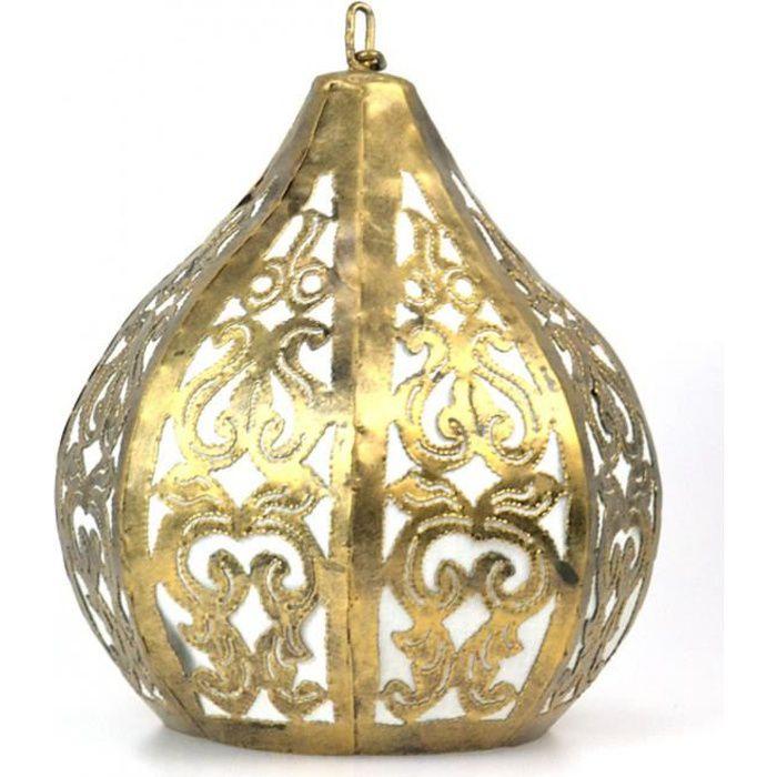 Suspension / Lustre marocain en fer forgé doré style ethnique oriental Doré