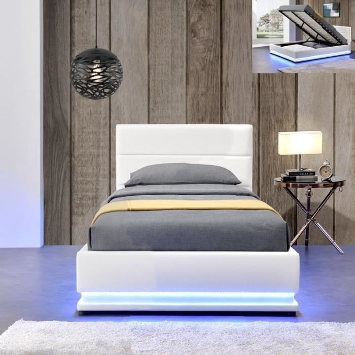 lit led avec coffre de rangement ava 90x190 blanc achat vente structure de lit lit led. Black Bedroom Furniture Sets. Home Design Ideas