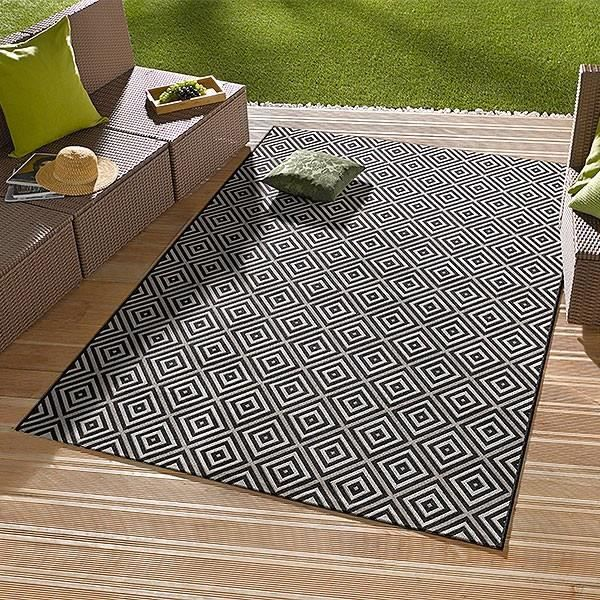 bougari int rieur ext rieur tapis noir karo achat vente tapis cdiscount. Black Bedroom Furniture Sets. Home Design Ideas