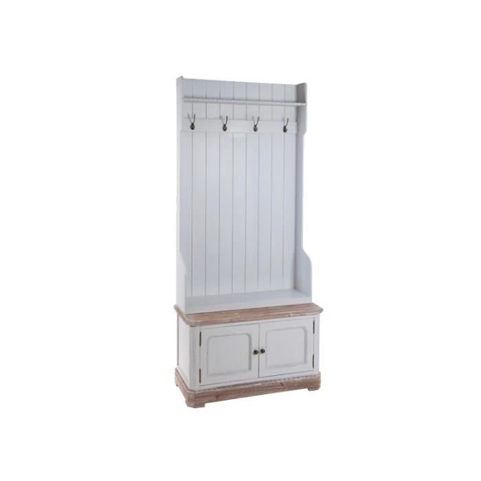 meuble d entr e porte manteau bois blanc style mer achat vente meuble tag re meuble d. Black Bedroom Furniture Sets. Home Design Ideas