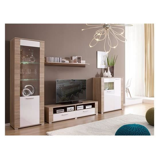 meuble tv design erness bois clair et blanc composition bois laqu achat vente meuble tv. Black Bedroom Furniture Sets. Home Design Ideas