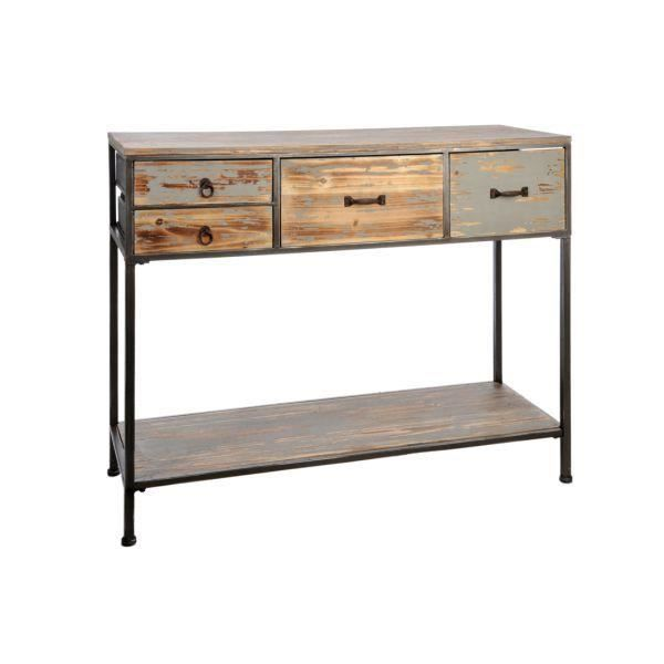 console 4 tiroirs design industriel uptown achat vente console console 4 tiroirs design in. Black Bedroom Furniture Sets. Home Design Ideas