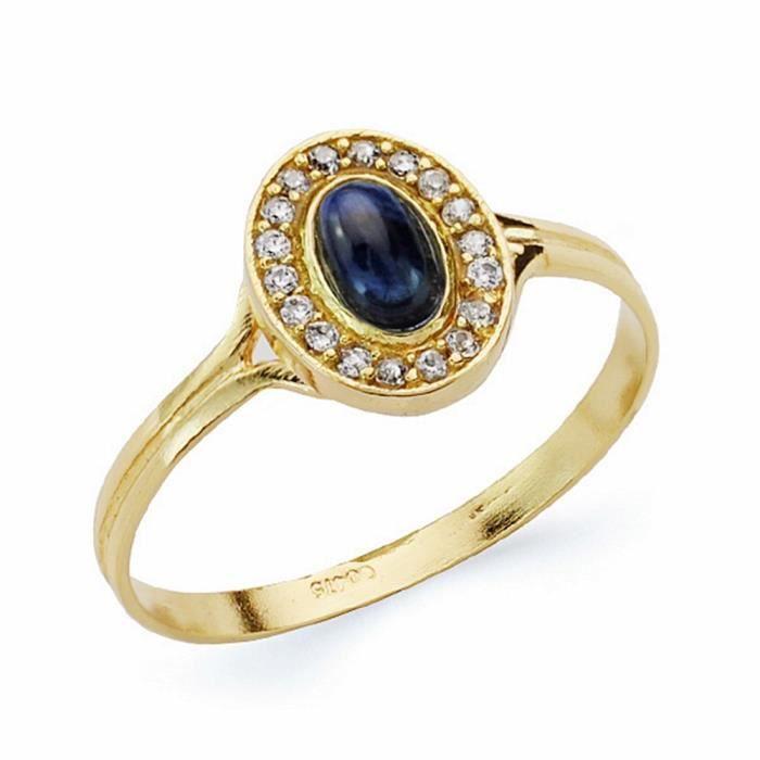 bague or avec pierre bleu