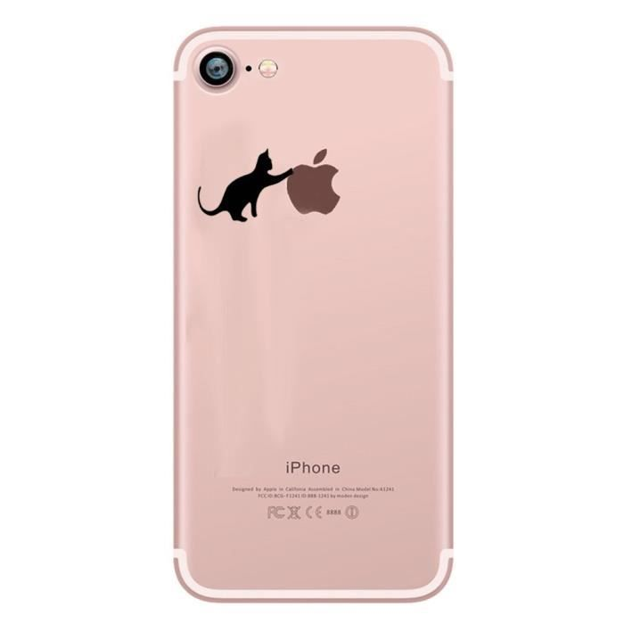 coque silicone iphone 7 chat fun apple cat noir jo