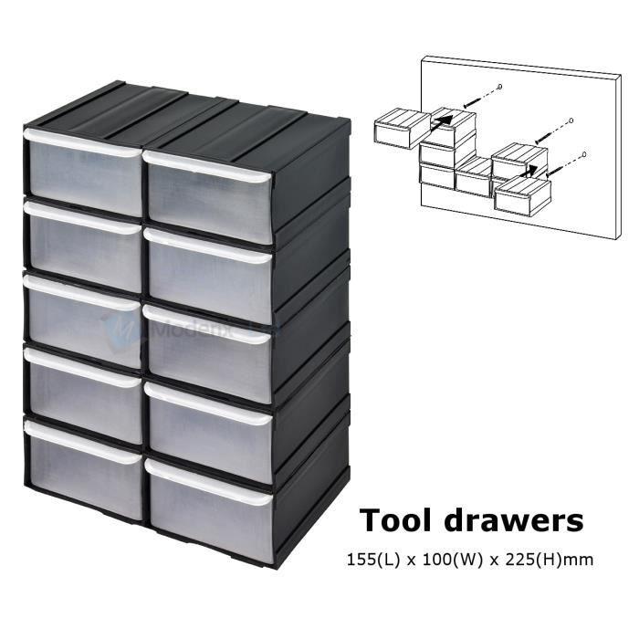 10 x Petit Noir Bac de rangement Bacs en plastique - Achat / Vente bac de rangement outils 10 x ...