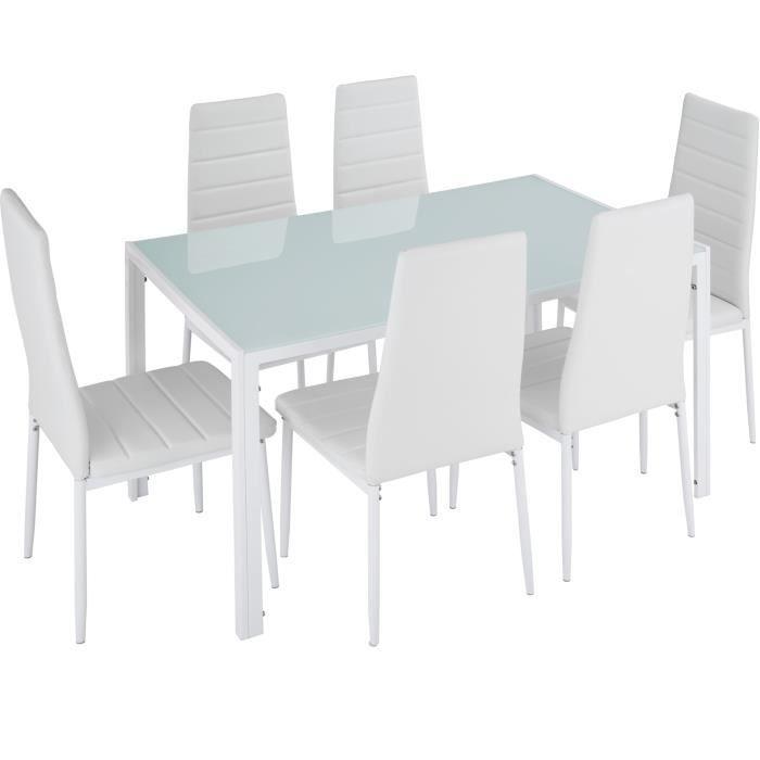 TABLE À MANGER COMPLÈTE TECTAKE Set Table à manger + 6 Chaises de Salle à