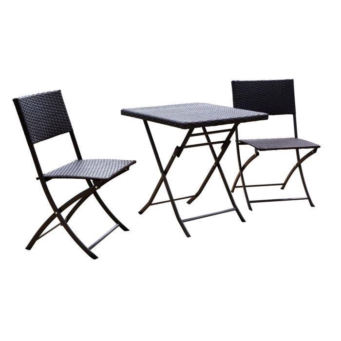 Set Bistrot - Acier & Résine tressée - 2 places - Table 65 x 65 cm + 2 chaises - Gris