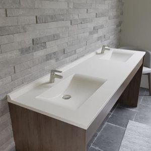 LAVABO - VASQUE CREAZUR Plan double vasque Blanc 175cm