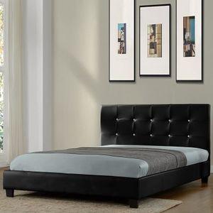 STRUCTURE DE LIT Lit design noir avec sommier 140 x 200 cm - Relax