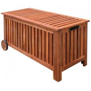 COFFRE D'EXTÉRIEUR Coffre de jardin à roulettes en bois naturel- DM41