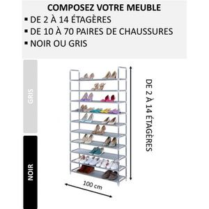MEUBLE À CHAUSSURES Etagère - Meuble à chaussures modulable de 2 à 14