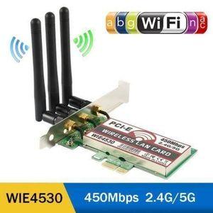 CARTE RÉSEAU  Adaptateur Carte Wifi sans fil PCI-E Express 450Mb