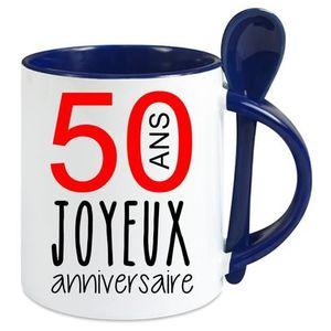 BOL mug avec cuillere - Céramique - Bleu Fonce LMK JOY