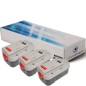 BATTERIE MACHINE OUTIL Lot de 3 batteries type HPB18 pour Black et decker