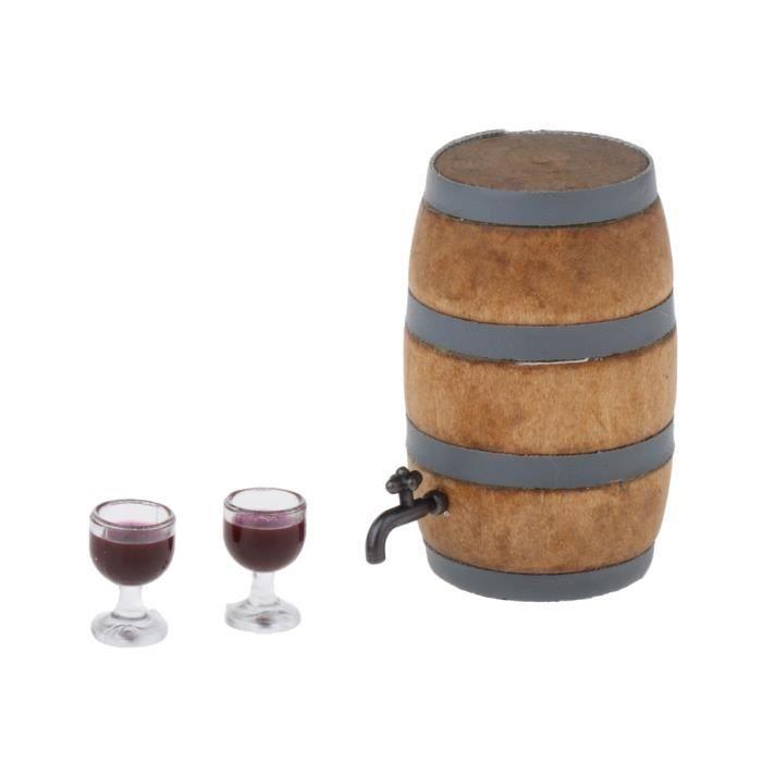 Mini Baril à Vin En Verre à Vin Modèle Poche Cave à Vin Décoration pour 1:12 Maison de Poupée