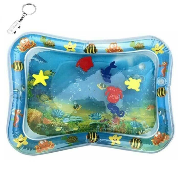 Tapis d'eau Matelas gonflable jouet enfant bébé éducatif océan poisson, Bleu.