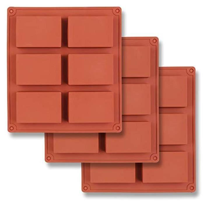 Kit Papier Creatif ZX0H7 Moule en silicone rectangulaire à 6 cavités, 3 packs de moules rectangulaires pour la fabrication de barres