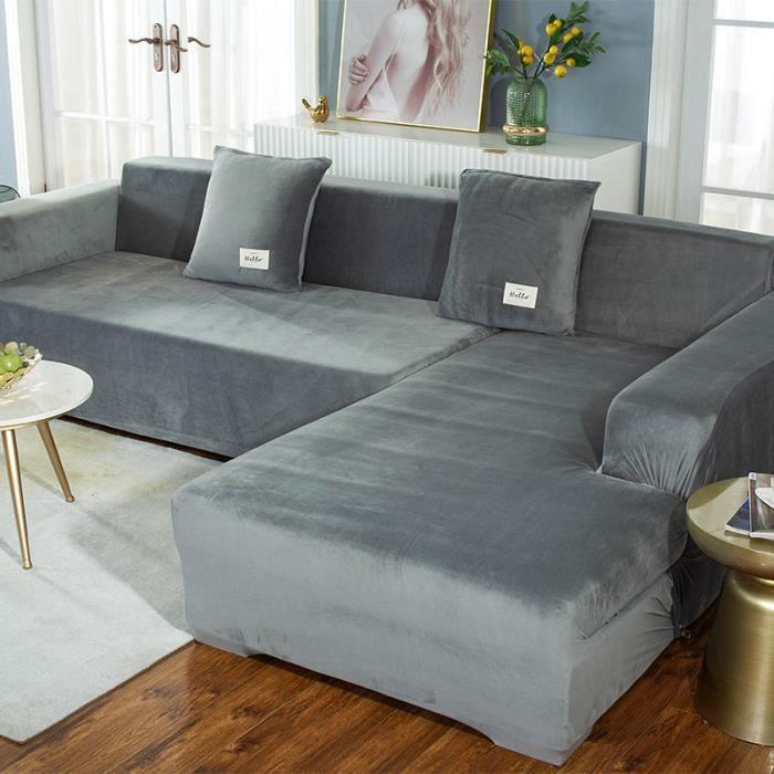 Housse de canapé en forme de L en peluche épaisse de couleur unie, sac universel simple tout-en-un élastique antidérapant - gris