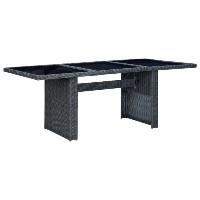 Well•7261Moderne Table de jardin Extérieure Professionnelle - Table de reception pique-nique Gris foncé Résine tressée et verre trem