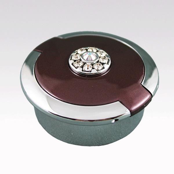 Boite pilulier ronde prune swarovski elements