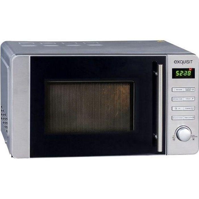 Exquisit MW8020H Four micro-ondes combiné grill pose libre 20 litres 800 Watt inox et verre