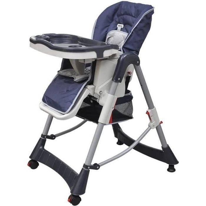 3-en-1 Chaise haute pour bébés et tout-petits 60 x 74 x (76-102) cm-confortable de 6 Mois à 3 Ans - Deluxe Bleu foncé Hauteur