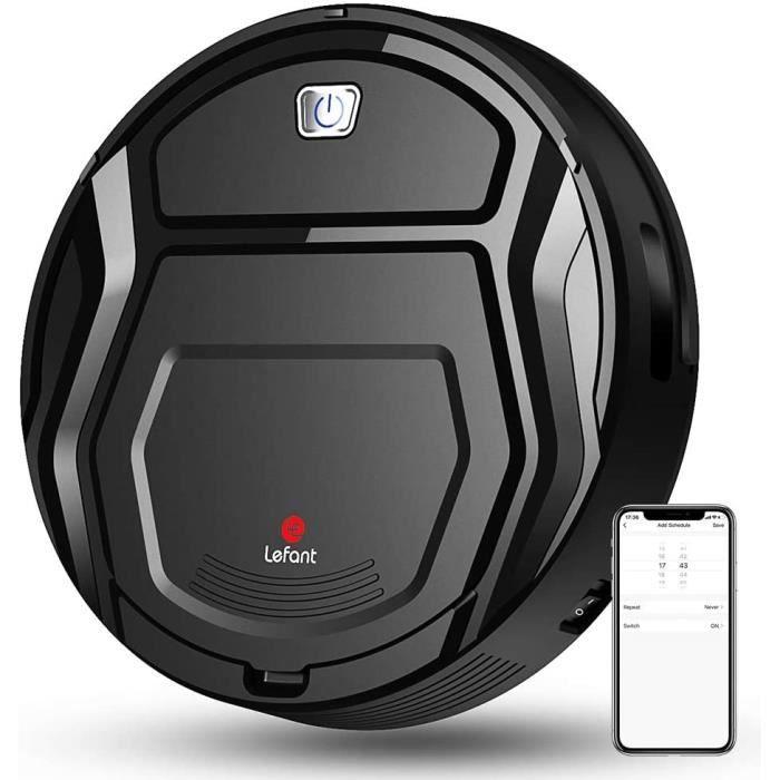 Aspirateur Robot, Mini Aspirateur Robotique Capteur de collision 6D, WiFi/App/Alexa, Auto-recharge 1500Pa Aspiration 500ml Capacité