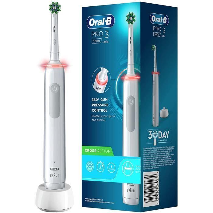 Oral-B PRO 3000 Brosse à Dents Électrique Rechargeable avec 1 Manche Capteur de Pression et 1 Brossette CrossAction, Technologi[66]