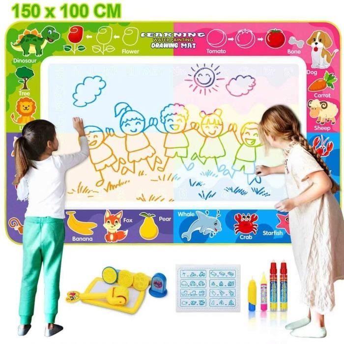 Tapis 150 x 100 cm de Dessin Eau Peinture Mats,Magic pour 4 à 6 Enfants Divers AccessoiresJouet Éducatif pour Bébé Enfant pour Noë