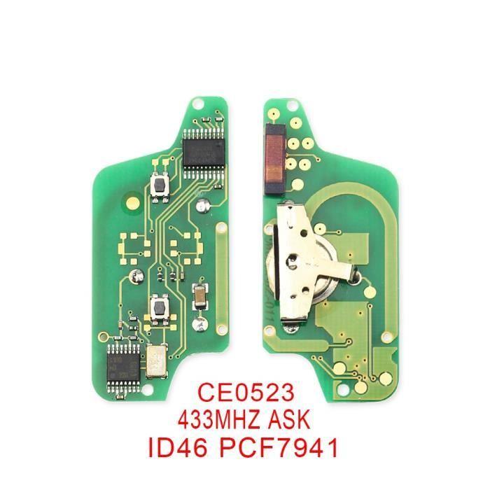Coque clé,Carte électronique clé à distance Dandkey pour Peugeot 407 407 307 308 citroën C2 C3 C4 Fob ASK - Type 2BT CE0523 ASK