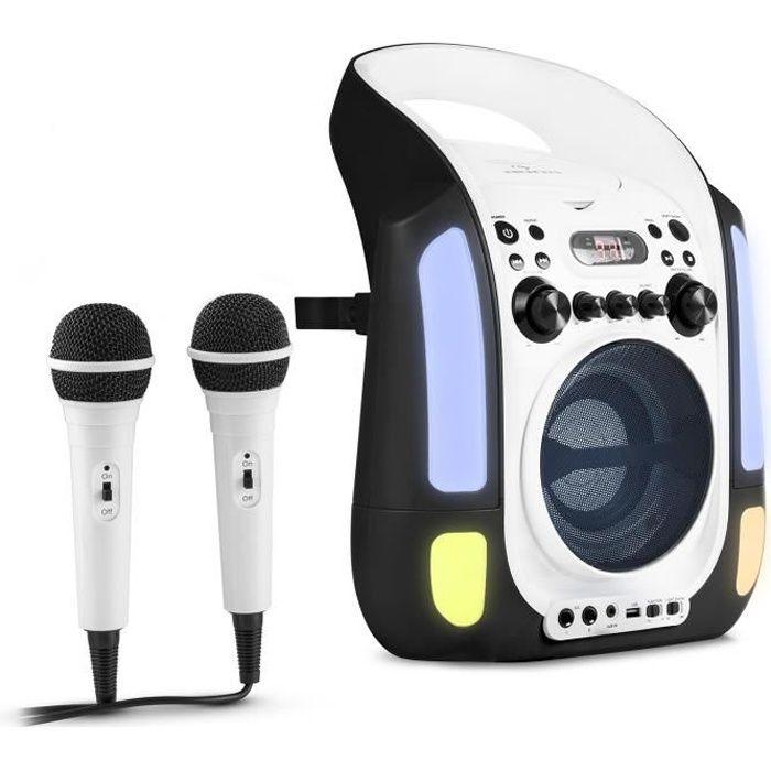 auna Kara Illumina Chaîne karaoké avec lecteur CD , Port USB compatible MP3 & effets lumineux LED + 2 micros inclus – noir