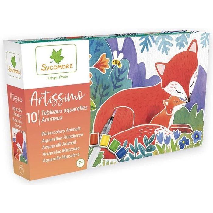 SYCOMORE-Artissimo-10 Tableaux Aquarelles-Animaux-Petit Modèle-Loisirs Créatifs Enfant-Dès 7 Ans