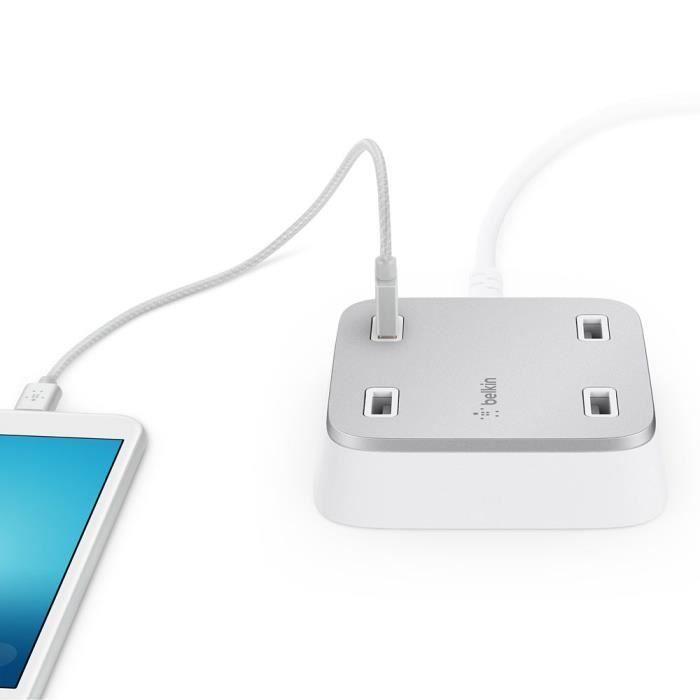 BELKIN Chargeur USB 4 ports, 5,4A partagé, 27W avec câble d'alimentation secteur moulé de 3m - Blanc