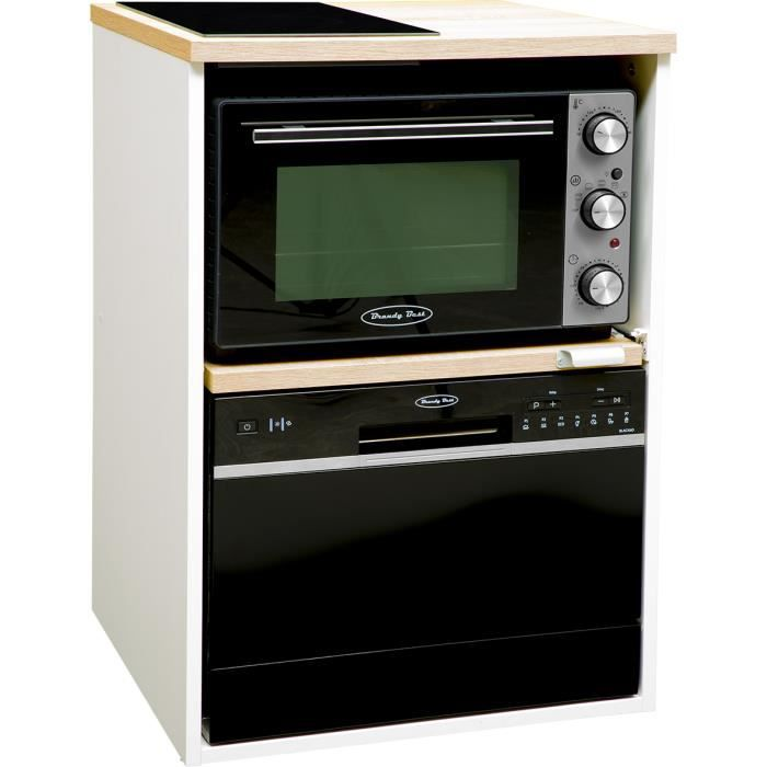 BRANDY BEST TRIO60B-SV-N Trio 60 cm tout-en-un avec domino vitro, four et lave-vaisselle couleur chêne claire et blanc