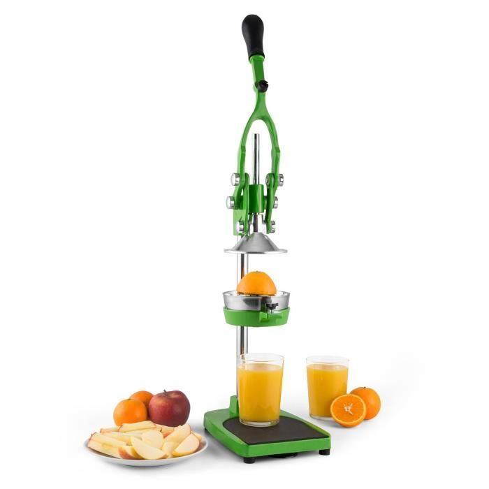 Klarstein TriJuicer - Presse agrumes mécanique à levier pour preparation de jus de fruit frais avec système de coupe-fruits et co...