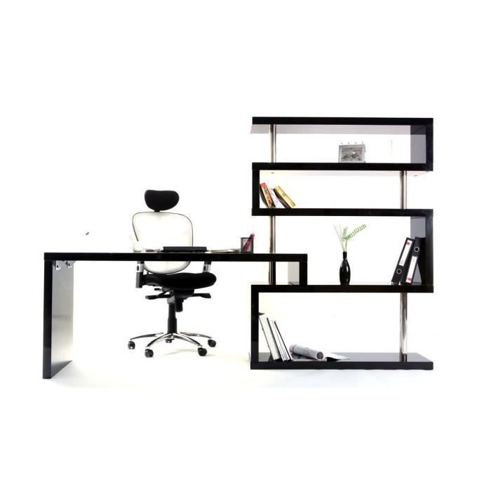 Bureau design noir laqué amovible T-MAX
