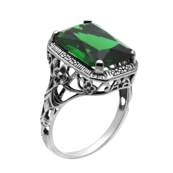 Femme Bague Swarovski Elements argent 925 Emerald Bague
