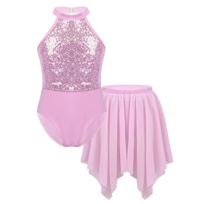 Enfant Fille Robe Danse Latine Paillette Justaucorps Gymnastique Jupe Mousseline Tutu Ballet 6-14 Ans Rose