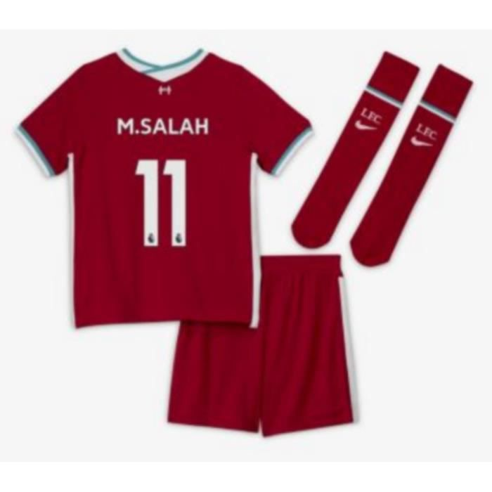 Mini-Kit Officiel Enfant Nike Liverpool Domicile Saison 2020-2021 Flocage Officiel Numéro 11 M. Salah