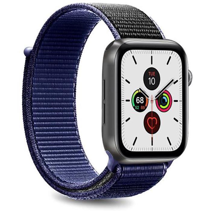 Bracelet Nylon Sport pour Apple Watch 42-44 mm taille ajustable Bleu Foncé et noir Puro