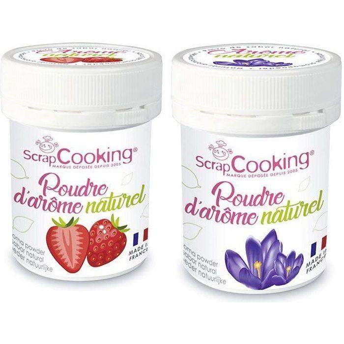 Arômes alimentaires naturels en poudre - fraise et violette - 2 x 15 g