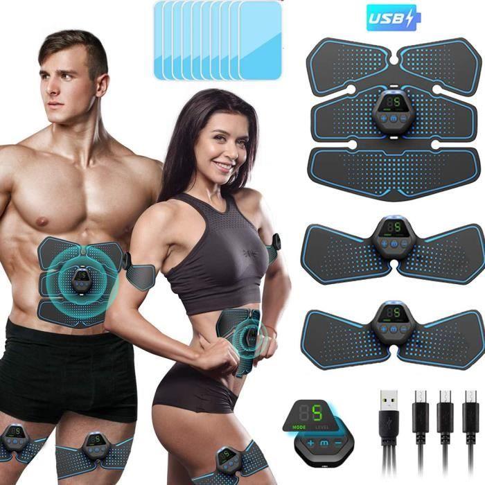 Stimulateur ABS stimulateur musculaire bras formateur portable Ab formateur pour hommes femmes(Bleu)