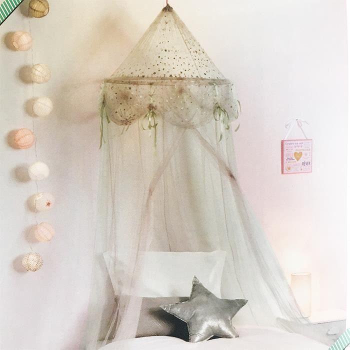 Ciel de Lit Fille Princesse Argent avec étoiles