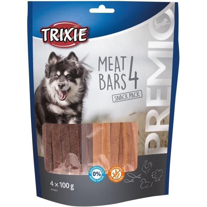 TRIXIE PREMIO 4 Barres de viande - Poulet, canard, agneau, saumon - 4 x 100 g - Pour chien