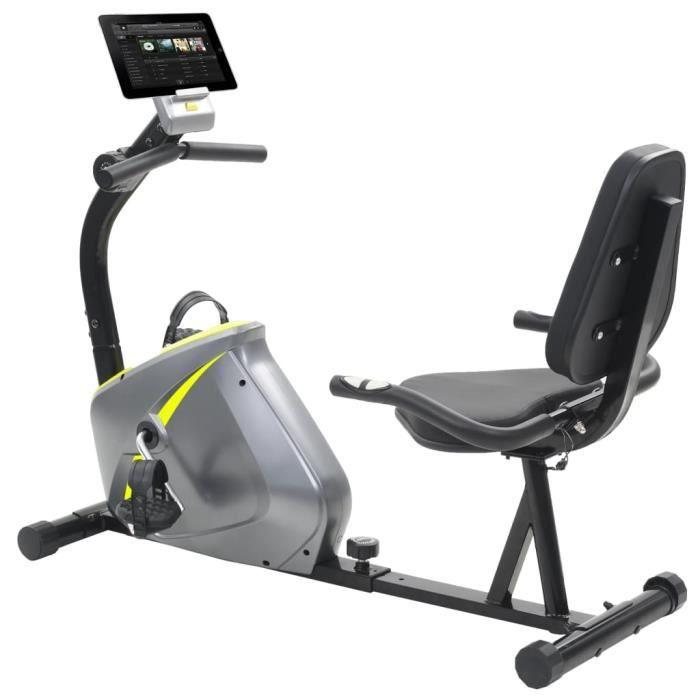 Vélo semi-allongé d'exercice 5 kg Masse rotative - Gris - Cardio - Machines de cardiotraining - Vélos d'appartement - Gris - Gris