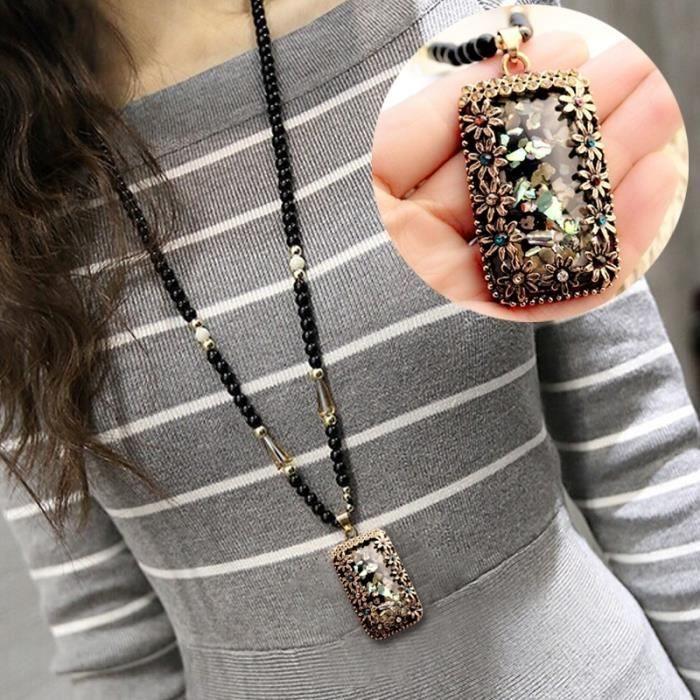 Collier Fantaisie Chaîne de chandail pendentif en pierres précieuses Long pierre précieuse d'accessoires opale Vintage, rectangle