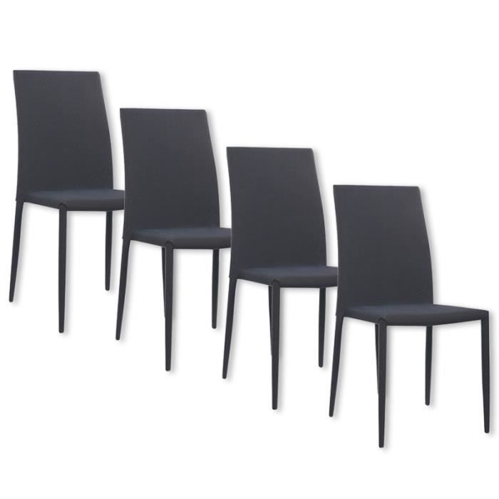 lot de 4 chaises noires en tissu kyni achat vente chaise noir cdiscount. Black Bedroom Furniture Sets. Home Design Ideas