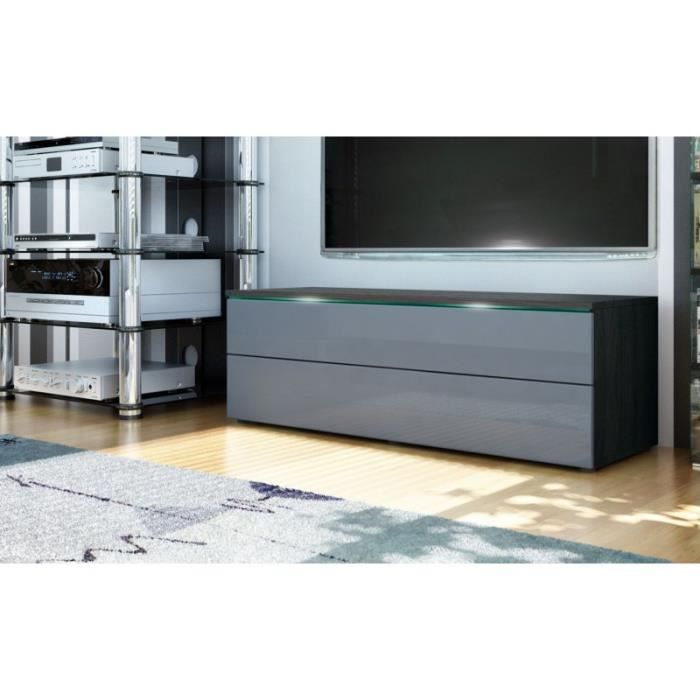 meuble tv bas noir gris 109 cm achat vente meuble tv meuble tv bas noir gris 109 cdiscount. Black Bedroom Furniture Sets. Home Design Ideas