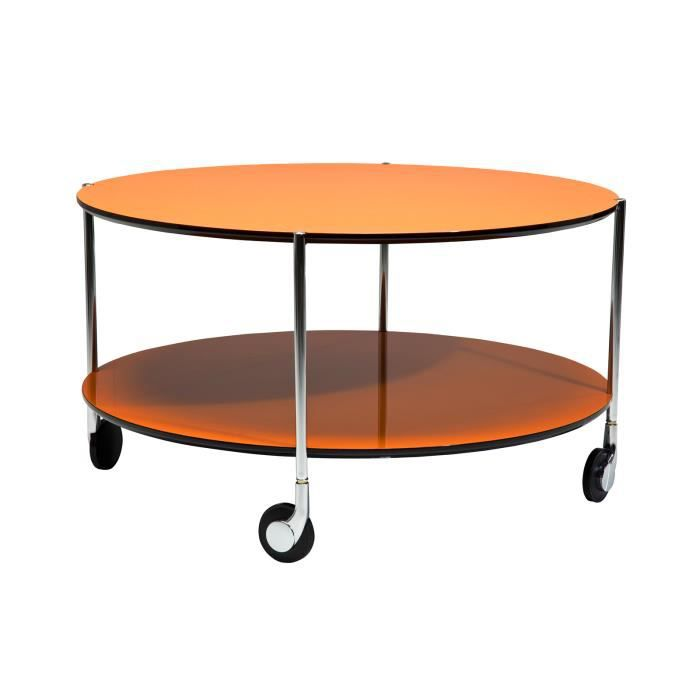 Table basse ronde orange 80 achat vente table basse for Table basse ronde industrielle