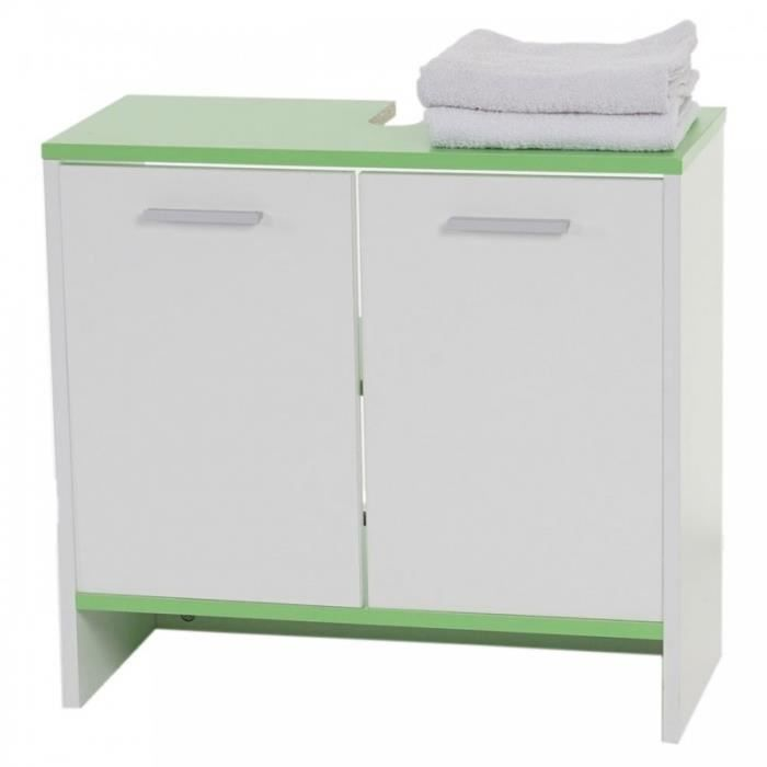 armoire lavabo meuble de salle de bain 56x60x28cm blanc vert sdb04006 achat vente meuble bas. Black Bedroom Furniture Sets. Home Design Ideas
